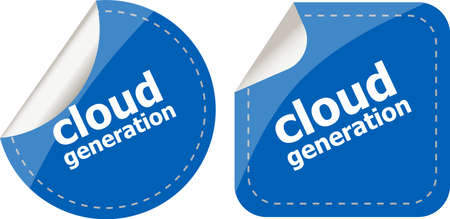 computering: Cloud technology icon, label stickers set isolated