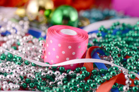 Christmas balls, diamonds and ribbon, new year decoration photo
