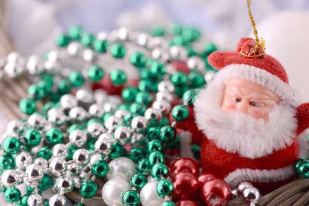 one year old: Santa Claus, christmas invitation card, close up Stock Photo