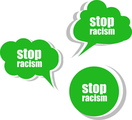 stop racism word on modern banner design template. set of stickers, labels, tags, clouds photo