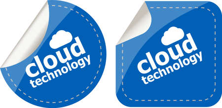 computering: cloud application stickers label tag set isolated on white
