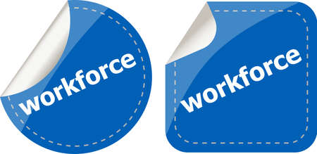 workforce word on stickers button set, label, business concept photo