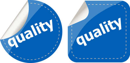quality word on stickers button set, label photo