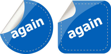 again: again word on stickers button set, label Stock Photo