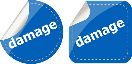 damage word on stickers web button set, label, icon photo