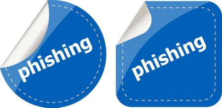 phishing: phishing word with lock on black stickers set