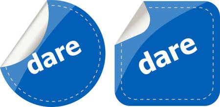 dare: dare word stickers web button set, label, icon