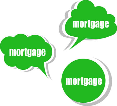 mortgage word on modern banner design template. set of stickers, labels, tags, clouds photo