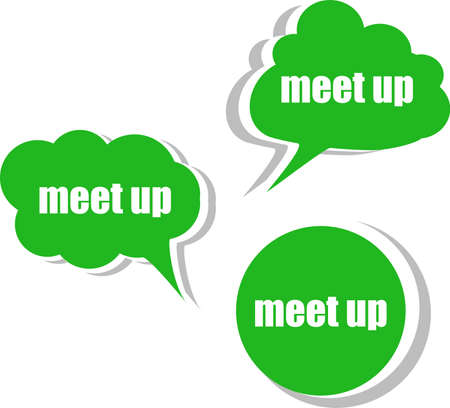 meet up. Set of stickers, labels, tags. Business banners, infographics photo