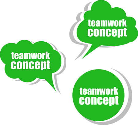 teamwork concept. Set of stickers, labels, tags. Template for infographics photo