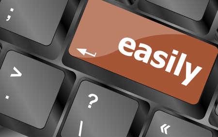 button computer: palabra easile en tecla del teclado, bot�n del ordenador port�til