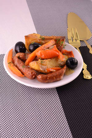 fresh salad with olives sausage carrot photo