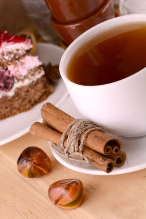 cinnamon cake and tea with sweet chocolate cake photo