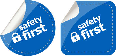proxy: Secure lock sign label isolated on white, safety first Stock Photo