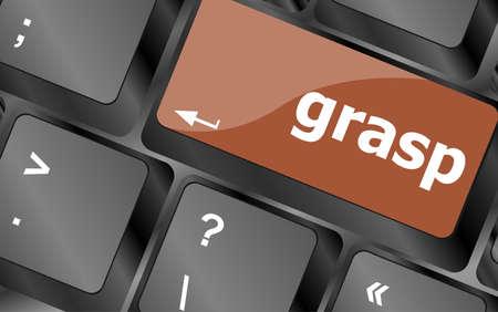 grasp: Computer keyboard button with grasp button