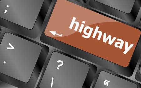 numpad: highway word on computer pc keyboard key