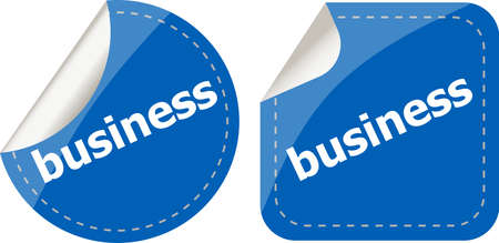 business word on stickers button set, label photo