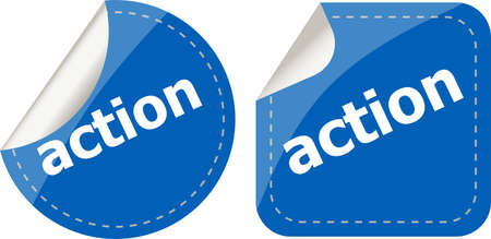action stickers set, icon button isolated on white photo