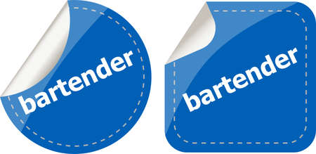 bartender word on stickers button set, business label photo
