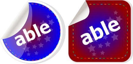 able: able word stickers set icon button isolated on white