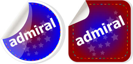admiral: admiral word stickers set, icon button, business concept Stock Photo