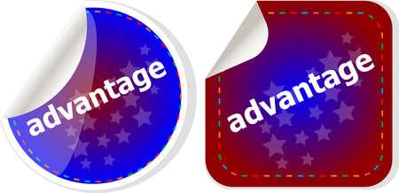 advantage: advantage word stickers set, icon button