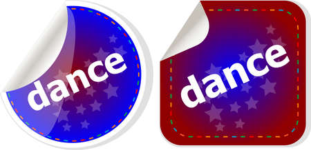 dance word on stickers web button set, label, icon photo