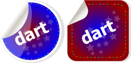 dart word stickers web button set, label, icon photo