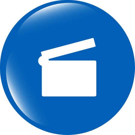 cinema glossy icon button on white background photo
