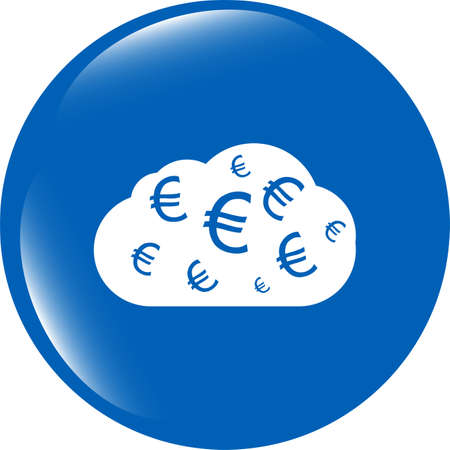 web icon cloud with euro sign, web button isolated on white photo