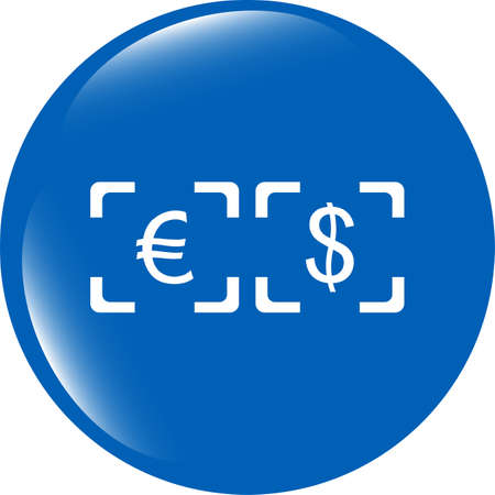 Currency exchange sign icon. Currency converter symbol. Money label. shiny button photo