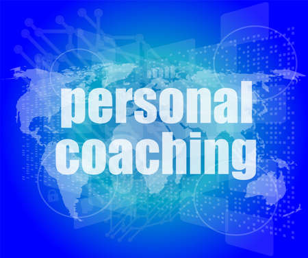 word personal coaching on digital screen 3d, business concept photo