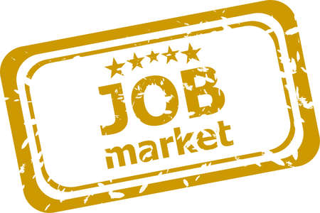 words job market on rubber stamp isolated on white photo
