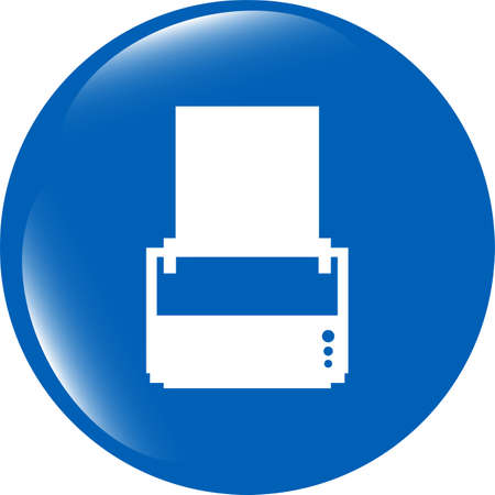 printer glossy icon buttons for web isolated on white photo