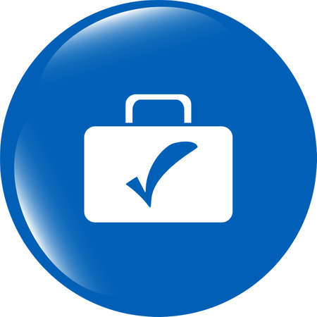 secrecy of voting: tick mark on business suitcase. web icon isolated on white Stock Photo