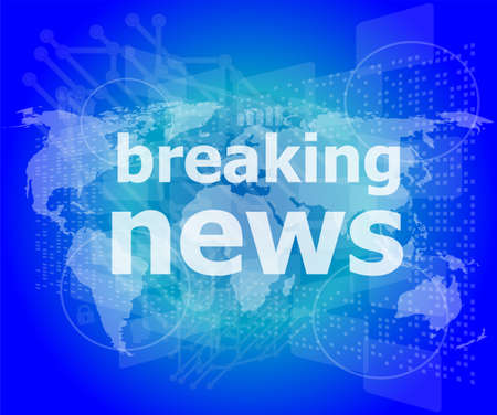 news headlines: News and press concept: words breaking news on digital screen Stock Photo