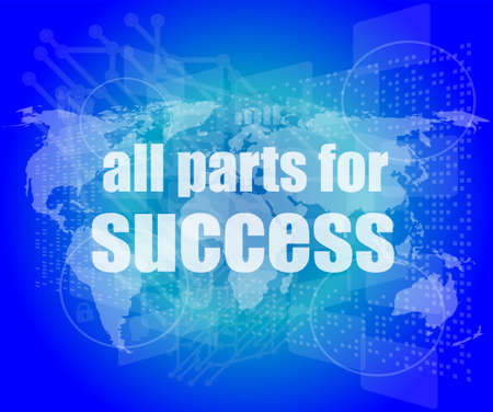 all parts for success text on digital touch screen interface photo