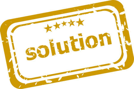 Solution grunge rubber stamp on white background photo