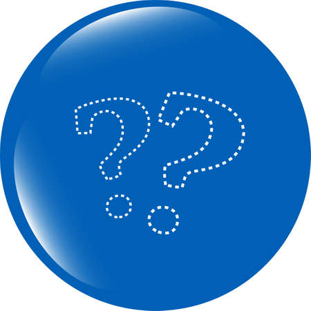 Stylish web button with question mark isolated on white background photo