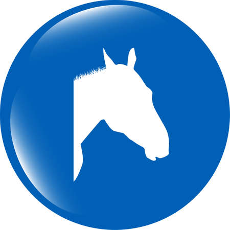 horse sign button, web app icon isolated on white background photo