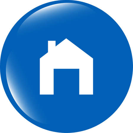 Home web icon, house sign on button photo