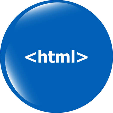 html 5: html 5 sign icon. Programming language symbol. Circles buttons Stock Photo