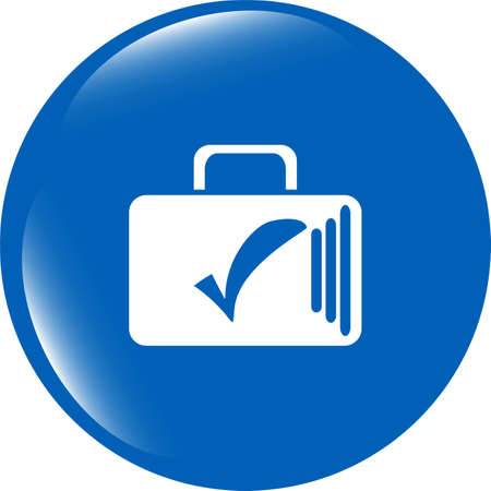 secrecy of voting: tick mark on business suitcase. web icon isolated on white background Stock Photo