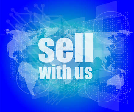 sell shares: Sell with us word on digital screen Stock Photo