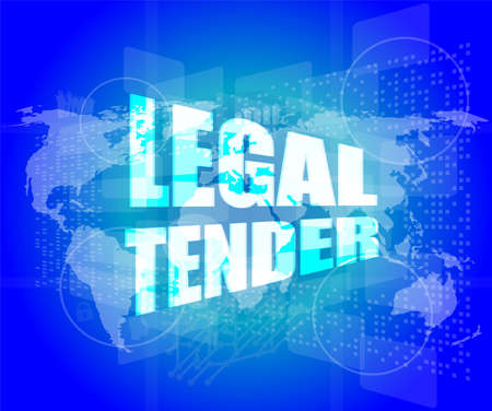 legal tender: touch screen interface with legal tender words