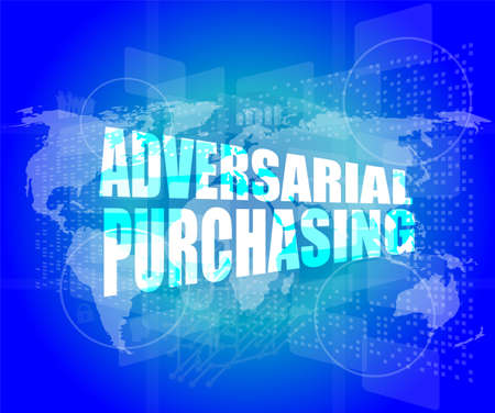 Backgrounds touch screen with adversarial purchasing words Stock Photo