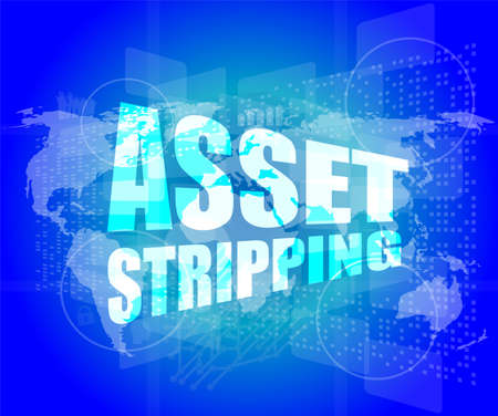 striping: Management concept: asset striping words on digital screen Stock Photo