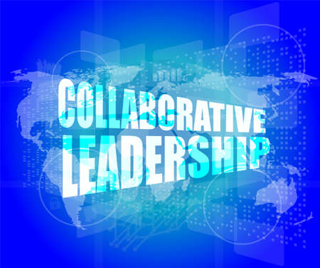 collaborative leadership review on touch screen, media communication on the internet Stock Photo