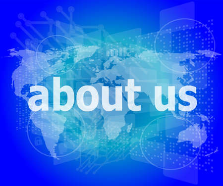 pixelated words about us on digital screen, business concept photo