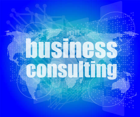 words business consulting on digital screen, business concept photo